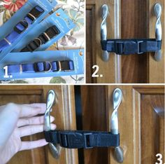 Need to baby-proof a cabinet in a pinch? Use a dog collar!