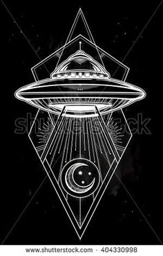 Alien Spaceship geometric design. UFO Background with flying saucer icon. Conspiracy theory concept, tattoo art. Isolated vector illustration.