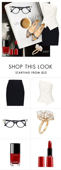"""Chic Worker"" by dogo-store ❤ liked on Polyvore featuring Helmut Lang, Roland Mouret, Dsquared2, Ross-Simons, Chanel, Giorgio Armani, chic, tiles, designshoes and workingchic"