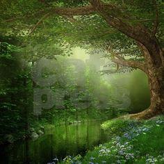 Forest Queen | Summer Forest River Queen Duvet Cover by FantasyArtDesigns