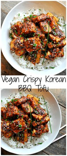 Vegan Crispy Korean BBQ Tofu Super crispy tofu tossed in the most delicious Korean inspired BBQ sauce. Can be totally gluten free! The post Vegan Crispy Korean BBQ Tofu & Fitness-Food & Recipes (gesund & vegan) appeared first on Vegan recipes . Vegan Dinner Recipes, Veggie Recipes, Asian Recipes, Whole Food Recipes, Korean Tofu Recipes, Free Recipes, Veggie Food, Easy Tofu Recipes, Vegan Korean Food