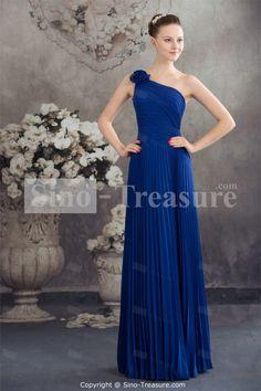 Royal Blue Chiffon One Shoulder Sleeveless Sheath/Column Floor-length Bridesmaid Dress