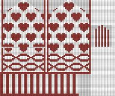 Knitting With Karma: Valentine's Mitten - Free Pattern Knitting Charts, Knitting Stitches, Knitting Designs, Knitting Patterns Free, Free Knitting, Baby Knitting, Stitch Patterns, Free Pattern, Knitted Mittens Pattern