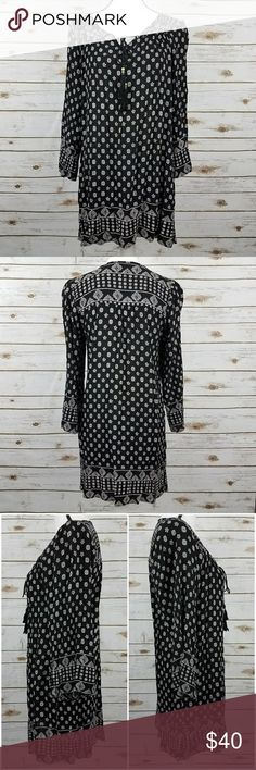 {ANGIE} Black/White Boho Dress/Tunic-Small Black & white boho print shift dress. Features rope tie neckline with beaded tie ends. Comfortable loose fit. An all-season dress (pair with leggings and boots in cooler months/climates). In like new condition; no signs of wear. See image for approx. measurements in inches, lying flat. 100% Rayon. Size small. Brand: ANGIE {@405dec}I Angie Dresses Mini