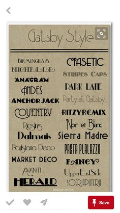 This sheet contains many different styles of Art Deco font. Typefaces like Park Lane and Party at Gatsby have bowls that extend far down toward the base of the letters and are generally thin. Prohibition Party, Speakeasy Party, Gatsby Themed Party, Great Gatsby Party, Nye Party, Gatsby Wedding, Art Deco Font, Motif Art Deco, Art Deco Design