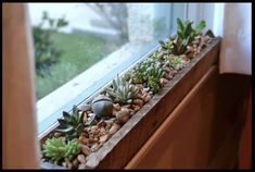 These windowsill planters will make succulents and cactuses look so great! They are slightly rustic and completely charming. They will liven up any space, indoors or outdoors. Using repurposed wood, such as the wood in the photo, makes the planters look even more quaint and interesting to look at. You can fill these up with your favorite tiny succulents and cactuses, or even both.