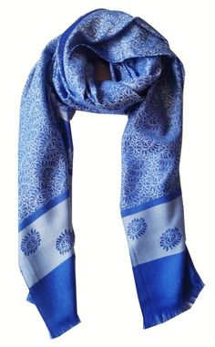 0811d7c1c Blue Flower Silk Scarf Shawl Scarves Pashmina Cover Wrap Large Cape Free a  Gift