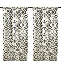Indigo Chavet Geometric Curtain Panel Set, 96 in.