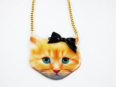 Printed ginger cat necklace enamel coated with black by mylillamy