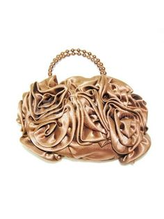 70% off Gold Satin Evening Handbag with Chain/Strap and Hand-made Flowers for Wedding Party MS53YL658 in 20+ Colors