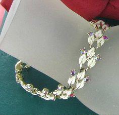 Coro Vintage White Enamel and AB Rhinestone by vintagejewelrylane, $47.99