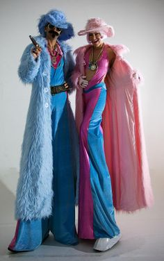 Cut The Edge - Various Stilt Walkers, Bling- Furry coats in blue and pink Stilt Walkers