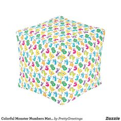 Colorful Monster Numbers Math Pattern Pouf