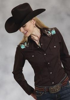 Roper Western Shirt Womens Long Sleeve Snap Solid Broadcloth s Brown