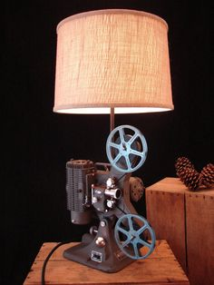 Table Lamp Upcycled Vintage Projector Lamp by BenclifDesigns, $340.00