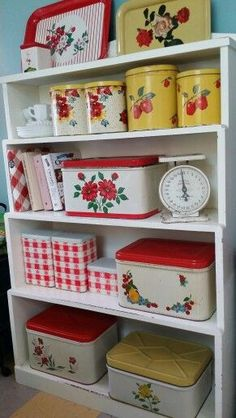 1950s Bread boxes, canisters, and tins - Find vintage collectibles at http://www.rubylane.com /rubylanecom/ #kitchen