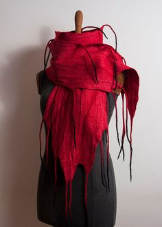 Hey, I found this really awesome Etsy listing at https://www.etsy.com/listing/486582087/red-scarf-nuno-felted-silk-wool-scarf