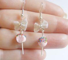 Cake Pop Miniature Food Earrings - Miniature Food Jewelry