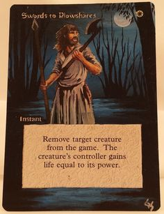MTG Magic Swords to Plowshares Hand Painted Altered Art Card OOAK #WizardsoftheCoast