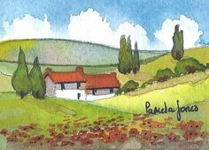 ACEO, Original Watercolour, Tuscany with Poppies, 3.5ins x 2.5ins, Miniature painting, Mothers Day, Gift Idea, Art and Collectibles
