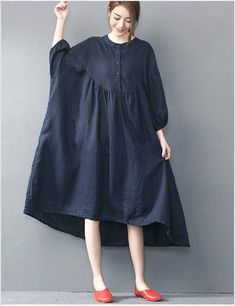 To know more about dresses Dark blue oversized loose long dress red large size dresses, visit Sumally, a social network that gathers together all the wanted things in the world! Featuring over other dresses items too! Look Fashion, Womens Fashion, Maxi Robes, Oversized Dress, Long Summer Dresses, Linen Dresses, Large Size Dresses, Skater Dress, Capsule Wardrobe