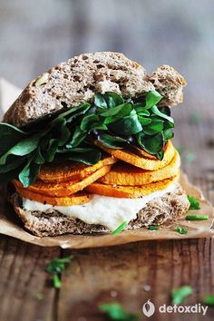 Sandwich Recipe: Sweet Potato Sandwich w/ Vegan Tzatziki Sauce healthy lunch recipes Vegan Sandwich Recipes, Healthy Sandwiches, Veggie Recipes, Whole Food Recipes, Vegetarian Recipes, Healthy Recipes, Veggie Food, Vegetarian Barbecue, Barbecue Recipes