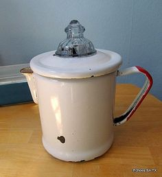 Enamel Red Rimed Fire King Coffee Pot