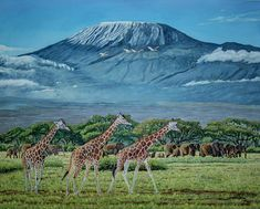 Mount Kilimanjaro Painting - African Giants At Mount Kilimanjaro, Original Oil Painting 48x60 In On Gallery Canvas by Manuel Lopez