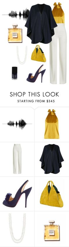 """Navy and mustard"" by dpmadi-k ❤ liked on Polyvore featuring Galvan, Brandon Maxwell, Sofiacashmere, Christian Louboutin, Onesixone, Masako and Chanel"