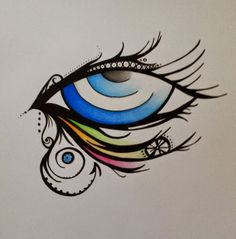 Used black marker and faber castell colors.
