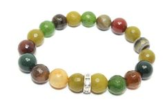 Gorgeous Faceted Khaki, Emerald, Banded, Sage and Olive Agates with Swarovski Crystals Rondelle Stretch Bracelet
