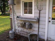 Chicken feeders as window boxes. Backdoor Primitives: Summer Back Porch