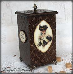 """Купить Чайный короб,конфетница """"Чайное блаженство"""" - коричневый, шоколадный, короб, короб для хранения"""