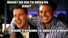 "65 Funny Dating Memes - ""Should I tell him I'm dating his sister? Wonder if he knows I'm dating his brother?"" 65 Funny Dating Memes - ""Should I tell him I'm dating his sister? Wonder if he knows I'm dating his brother? Sports Humor, Funny Sports, Awkward Texts, Dangerous Love, Crushing On Someone, Memes For Him, Catch Feelings, The Perfect Girl, Single People"