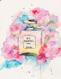 Chanel No 5 Print of Original Watercolor por TalulaChristian, $15.00