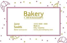 Illustration Pink Yellow Dots to promote your bakery business in style Bakery Business Cards, Pink Yellow, Dots, Homemade, Frame, Illustration, Style, Stitches, Picture Frame