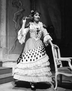 """Maria Callas on stage performing Rossini's """"Il Barbiere di Siviglia""""."""