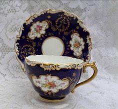 Vintage Tea Cup & Saucer - Cobalt with Rose - Coalport
