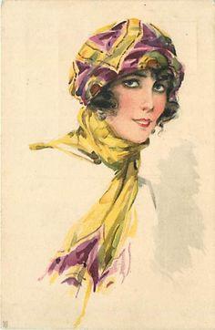 Risultati immagini per vintage women postcards illustrations