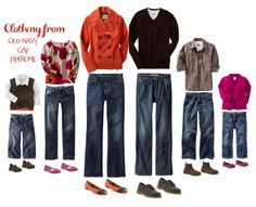 What to wear in a family photo, color schemes for portrait clothing, photography, family portraits Family Portrait Outfits, Fall Family Portraits, Family Picture Outfits, Family Photos What To Wear, Fall Family Pictures, Family Pics, Fall Photos, Autumn Pictures, What To Wear Fall