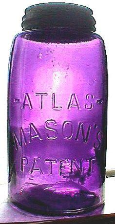 Colored mason jars to make lights out of for boys rooms Antique Bottles, Vintage Bottles, Bottles And Jars, Antique Glass, Glass Jars, Antique Decor, Vintage Decor, The Purple, Purple Glass