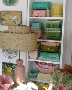 vintage pottery display