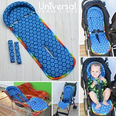 Universal Fit Seat Liner Pattern PRAM STROLLER with matching shoulder strap covers - optional padded head rest - easy on/off - reversible - Baby Products Stroller Cover, Pram Stroller, Car Seat Cover Pattern, Car Seat Liner, Siege Bebe, Pram Liners, Toddler Chair, Baby Sewing Projects, Prams