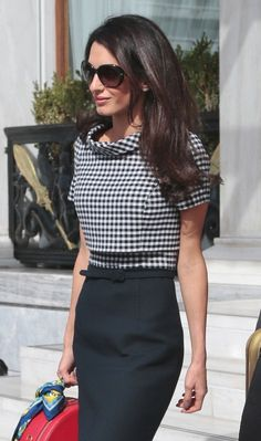 Amal Alamuddin Clooney leaves Athens.  Love the outfit.