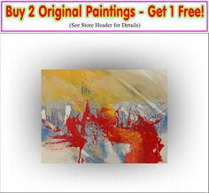 Buy 2 - Get 1 Free Yellow Red Abstract Painting #art #painting @EtsyMktgTool http://etsy.me/2ijl9aI