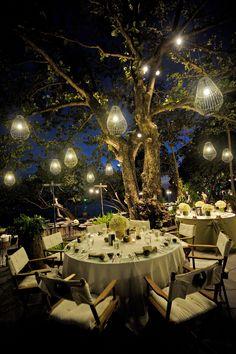 Dinner al fresco in an amazing location.  Rayavadee, Krabi, Thailand.    www.rayavadee.com #thailand