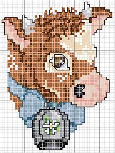 Schema punto croce Testa mucca