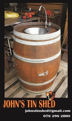 Wine barrel conversion to sink Tin Shed, How To Remove Rust, Plasma Cutting, Repurposed, Barrel, Restoration, Great Gifts, Sink, Products
