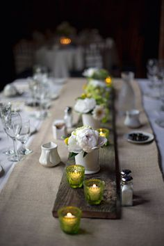 love the simple plank across the table