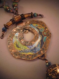 """Close Up of """"Moving Earth and Sky"""" Necklace from Allison L Norfleet Bruenger Collections"""